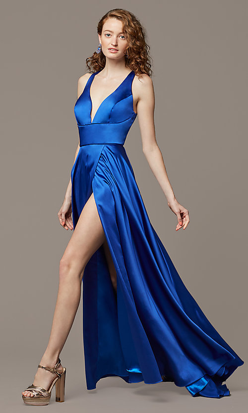 Image of long formal prom dress with open-back cut out. Style: DJ-A7454-v Detail Image 1