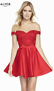 Image of Alyce two-piece short red homecoming party dress. Style: AL-3827 Front Image