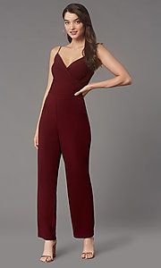 Image of v-neck cocktail party jumpsuit in wine red. Style: EM-AAG-3405-550 Front Image