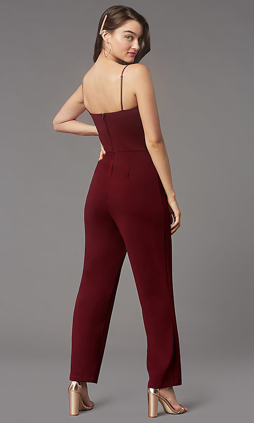 Image of v-neck cocktail party jumpsuit in wine red. Style: EM-AAG-3405-550 Back Image