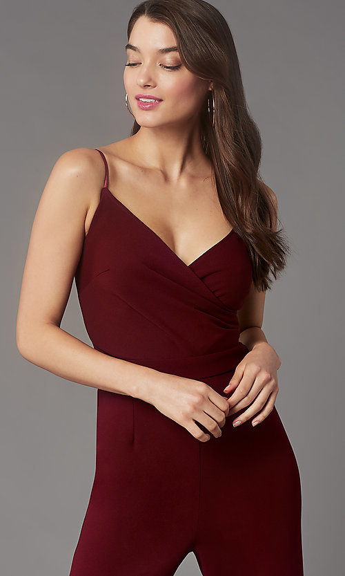 Image of v-neck cocktail party jumpsuit in wine red. Style: EM-AAG-3405-550 Detail Image 1