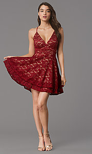Image of short glitter-lace red/nude hoco party dress. Style: EM-FQP-3473-616 Front Image