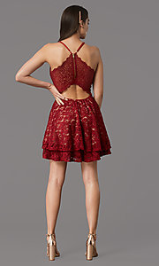 Image of short glitter-lace red/nude hoco party dress. Style: EM-FQP-3473-616 Back Image