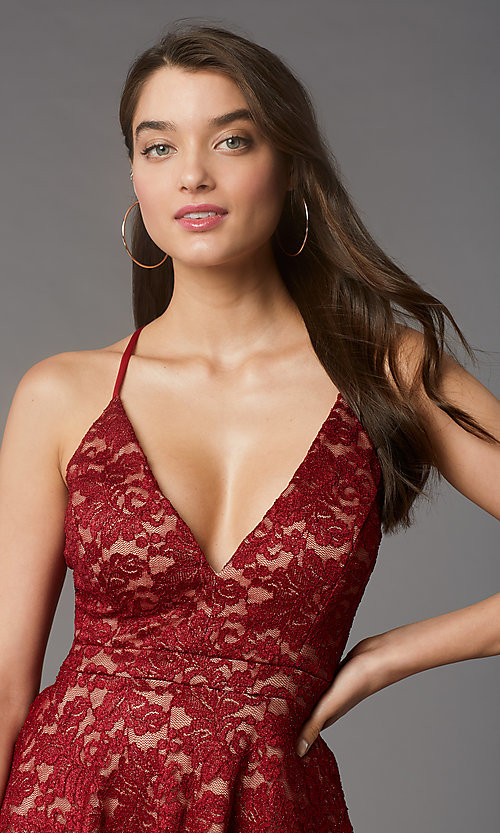 Image of short glitter-lace red/nude hoco party dress. Style: EM-FQP-3473-616 Detail Image 1
