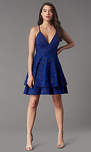 Image of metallic-embroidered short tiered party dress. Style: EM-FQP-4283-420 Front Image