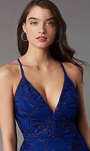 Image of metallic-embroidered short tiered party dress. Style: EM-FQP-4283-420 Detail Image 1