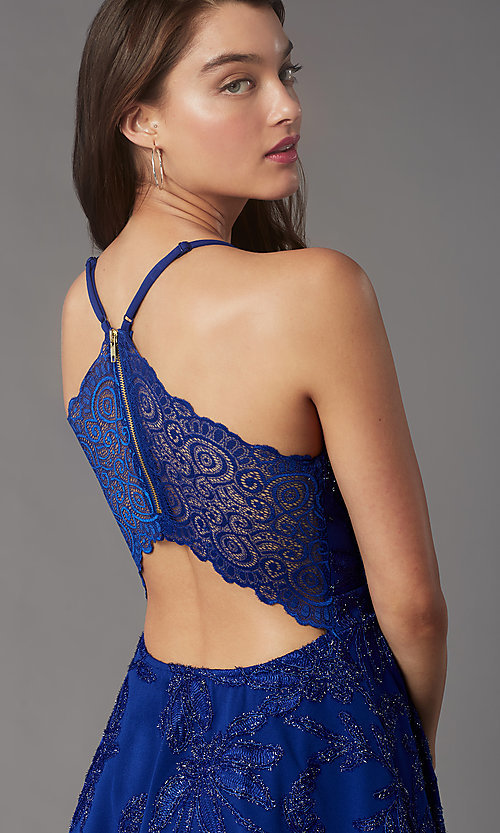 Image of metallic-embroidered short tiered party dress. Style: EM-FQP-4283-420 Detail Image 2