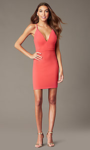 Image of sherbet pink short party dress with cut-out back. Style: EM-FRI-3405-830 Front Image