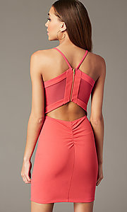 Image of sherbet pink short party dress with cut-out back. Style: EM-FRI-3405-830 Detail Image 2