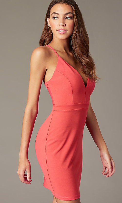Image of sherbet pink short party dress with cut-out back. Style: EM-FRI-3405-830 Detail Image 1