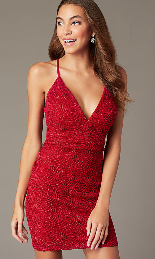 Image of embroidered glitter-mesh short red party dress. Style: EM-FRI-3876-600 Front Image