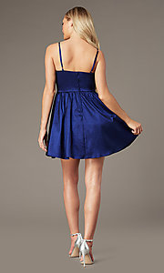 Image of royal blue short v-neck homecoming dress. Style: EM-HBO-3870-420 Back Image