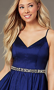 Image of royal blue short v-neck homecoming dress. Style: EM-HBO-3870-420 Detail Image 1
