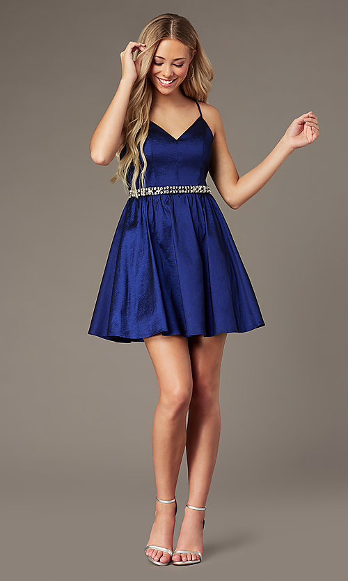 Image of royal blue short v-neck homecoming dress. Style: EM-HBO-3870-420 Front Image