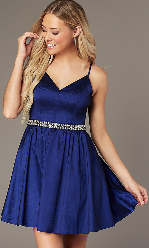 Image of royal blue short v-neck homecoming dress. Style: EM-HBO-3870-420 Detail Image 2