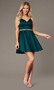 Image of v-neck hunter green short homecoming party dress. Style: EM-HBO-3870-304 Front Image