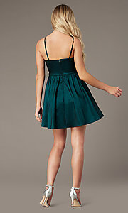 Image of v-neck hunter green short homecoming party dress. Style: EM-HBO-3870-304 Back Image