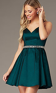 Image of v-neck hunter green short homecoming party dress. Style: EM-HBO-3870-304 Detail Image 2