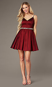 Image of wine red v-neck short semi-formal homecoming dress. Style: EM-HBO-3870-550 Front Image