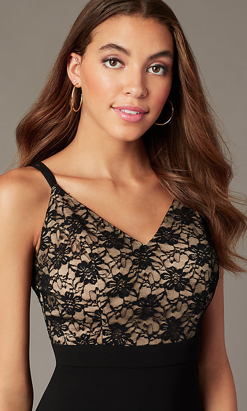 Image of lace-bodice knee-length black cocktail dress. Style: EM-HLG-1000-018 Detail Image 1