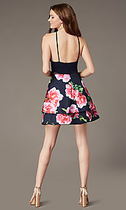 Image of short tiered floral-print-skirt homecoming dress. Style: MCR-PL-2903 Back Image