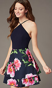 Image of short tiered floral-print-skirt homecoming dress. Style: MCR-PL-2903 Detail Image 1