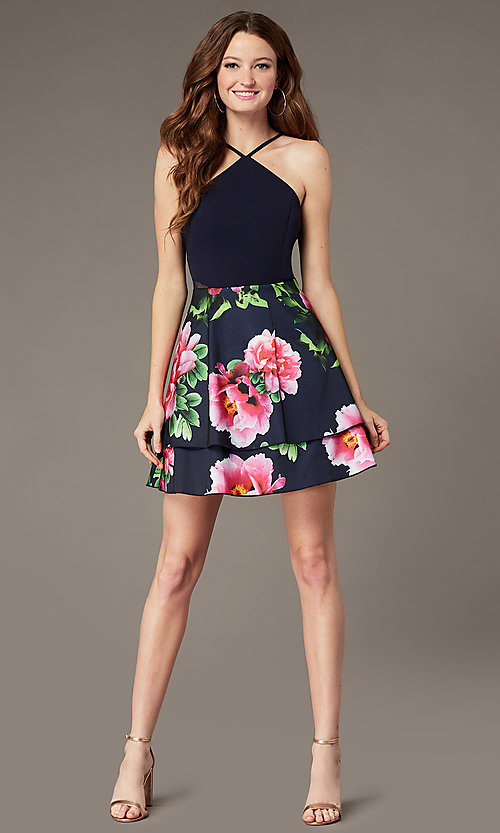 Image of short tiered floral-print-skirt homecoming dress. Style: MCR-PL-2903 Front Image