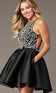 Image of short black homecoming party dress with beading. Style: BL-PL-220ABL Front Image