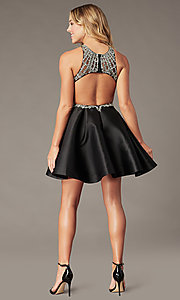 Image of short black homecoming party dress with beading. Style: BL-PL-220ABL Back Image