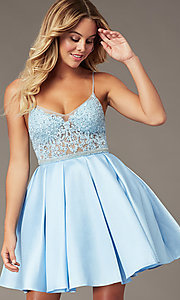 Image of embroidered-bodice ice blue short homecoming dress. Style: BL-PL-37IB Front Image