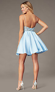Image of embroidered-bodice ice blue short homecoming dress. Style: BL-PL-37IB Back Image