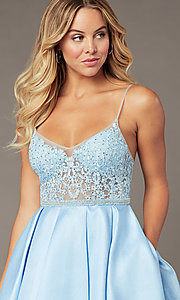 Image of embroidered-bodice ice blue short homecoming dress. Style: BL-PL-37IB Detail Image 1