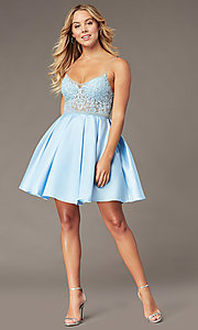 Image of embroidered-bodice ice blue short homecoming dress. Style: BL-PL-37IB Detail Image 2