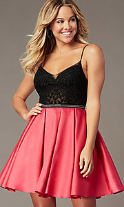 Image of short hoco dress with embroidered-lace bodice. Style: BL-PL-37BW Front Image