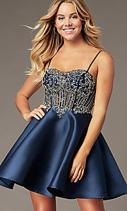Image of embellished-bodice navy short homecoming dress. Style: BL-PL-221B Front Image