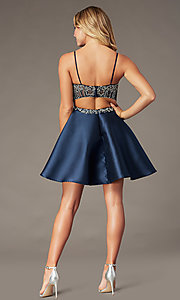 Image of embellished-bodice navy short homecoming dress. Style: BL-PL-221B Back Image