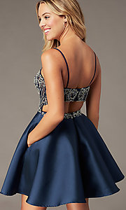 Image of embellished-bodice navy short homecoming dress. Style: BL-PL-221B Detail Image 1