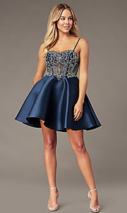 Image of embellished-bodice navy short homecoming dress. Style: BL-PL-221B Detail Image 2