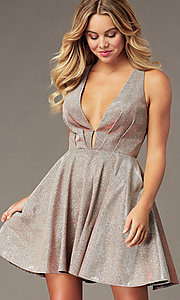 Image of short a-line copper homecoming dress with pockets. Style: BL-PL-41 Front Image