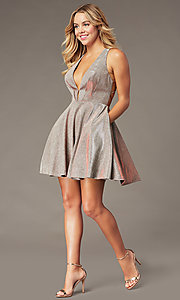 Image of short a-line copper homecoming dress with pockets. Style: BL-PL-41 Detail Image 2