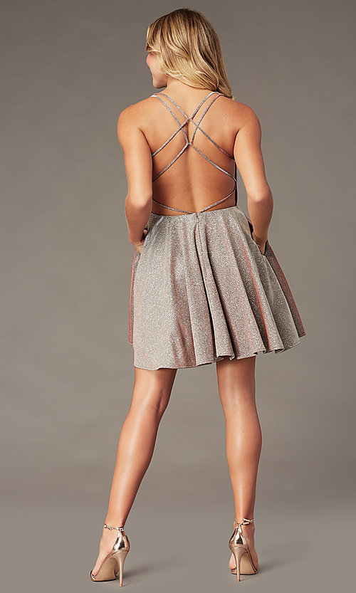 Image of short a-line copper homecoming dress with pockets. Style: BL-PL-41 Back Image