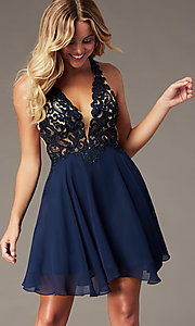 Image of backless v-neck navy blue short homecoming dress. Style: BL-PL-42 Front Image