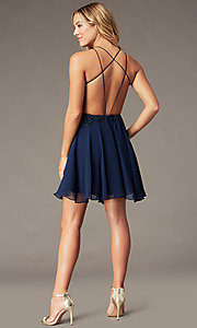 Image of backless v-neck navy blue short homecoming dress. Style: BL-PL-42 Back Image