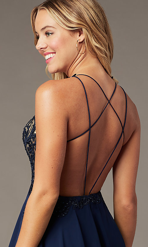Image of backless v-neck navy blue short homecoming dress. Style: BL-PL-42 Detail Image 1