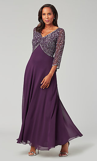 Beaded-Sleeve Long Mother-of-the-Bride Dress