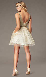 Image of short sparkly glitter-mesh homecoming party dress. Style: DQ-3178 Back Image