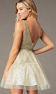 Image of short sparkly glitter-mesh homecoming party dress. Style: DQ-3178 Detail Image 1