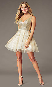 Image of short sparkly glitter-mesh homecoming party dress. Style: DQ-3178 Detail Image 2