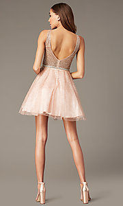 Image of short sparkly glitter-mesh homecoming party dress. Style: DQ-3178 Detail Image 4