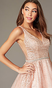 Image of short sparkly glitter-mesh homecoming party dress. Style: DQ-3178 Detail Image 5